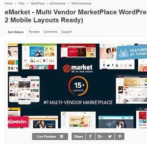 eMarket - Multi Vendor MarketPlace WordPress Theme Latest Version Download