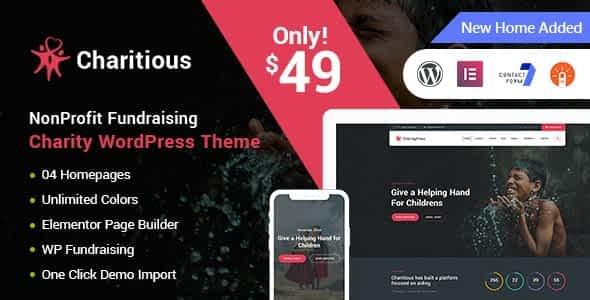 Charitious - NonProfit Fundraising Charity WordPress Theme